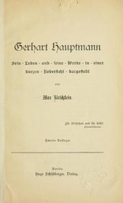 Cover of: Gerhart Hauptmann