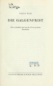 Cover of: Die Galgenfrist