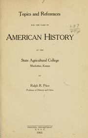 Cover of: Topics and references for the class in American history... | R. R. Price