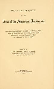Cover of: Register for nineteen hundred and twelve | Sons of the American revolution. Hawaii society.