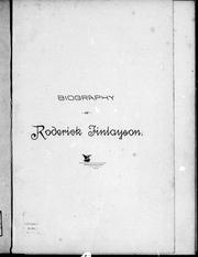 Cover of: Biography of Roderick Finlayson | Roderick Finlayson