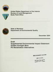 Cover of: Draft supplemental environmental impact statement Golden Sunlight Mine | United States. Bureau of Land Management. Butte District.