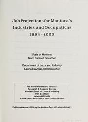 Cover of: Job projections for Montana