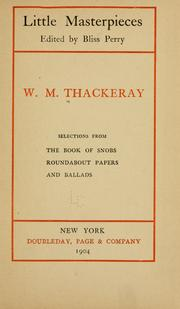 Cover of: Selections from The book of snobs, Roundabout papers, and Ballads. | William Makepeace Thackeray