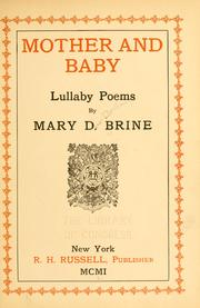 Cover of: Mother and baby | Brine, Mary D[ow Northam] Mrs.