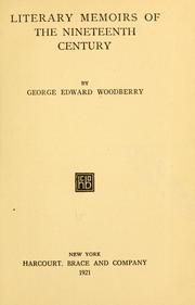 Cover of: Literary memoirs of the nineteenth century