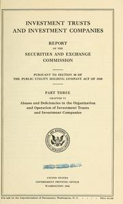 Cover of: Investment trusts and investment companies. | United States. Securities and Exchange Commission.