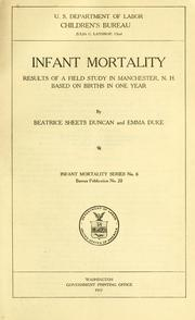 Infant mortality: results of a field study in Manchester, N. H.