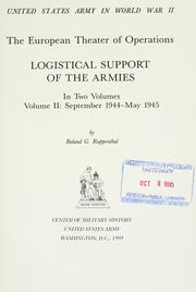 Cover of: Logistical support of the armies | Roland G. Ruppenthal
