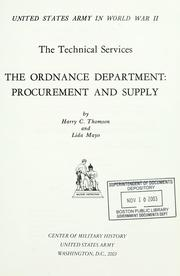 Cover of: The Ordnance Department