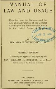 Cover of: Manual of law and usage
