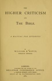 Cover of: The higher criticism and the Bible