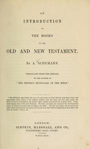 Cover of: introduction to the book of the Old and New Testament ... | Ad Schumann