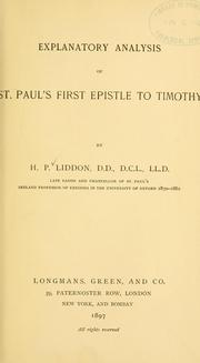 Cover of: Explanatory analysis of St. Paul's First Epistle to Timothy..