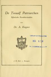 Cover of: De twaalf patriarchen