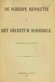 Cover of: De Scherpe Resolutie en het decretum horribile