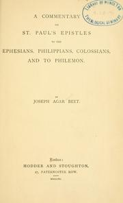 Cover of: commentary on St. Paul
