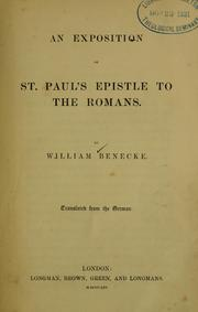 Cover of: An exposition of St. Paul's Epistle to the Romans ..