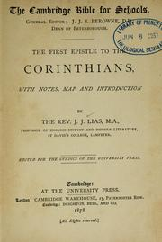 Cover of: first Epistle to the Corinthians | J. J. Lias