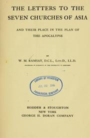 Cover of: The letters to the seven churches of Asia and their place in the plan of the Apocalypse