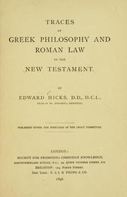 Cover of: Traces of Greek philosophy and Roman law in the New Testament