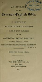 Cover of: An apology for the common English Bible