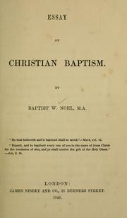 Cover of: Essay on Christian baptism