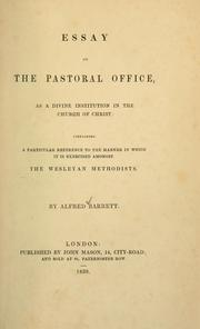 Cover of: Essay on the pastoral office as a divine institution in the Church of Christ