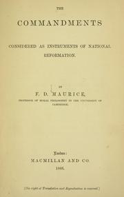 Cover of: The commandments considered as instruments of national reformation