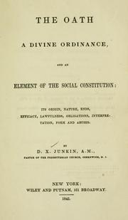 Cover of: The oath, a divine ordinance and an element of the social constitution