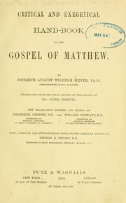 Cover of: Critical and exegetical hand-book to the Gospel of Matthew. | Meyer, Heinrich August Wilhelm