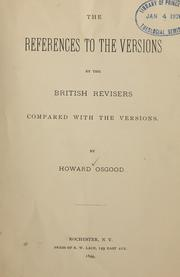 Cover of: The references to the versions by the British revisers | Howard Osgood