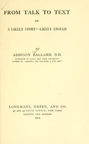 Cover of: From talk to text | Ballard, Addison