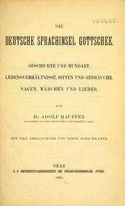 Cover of: Die deutsche Sprachinsel Gottschee