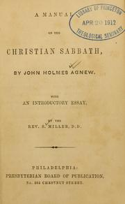 Cover of: manual on the Christian Sabbath | John Holmes Agnew