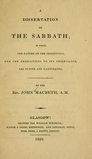 Cover of: A dissertation on the Sabbath
