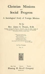 Cover of: Christian missions and social progress