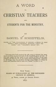 A word to Christian teachers and students for the ministry