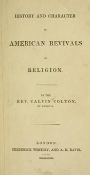 Cover of: History and character of American revivals of religion