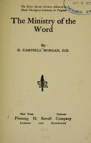 Cover of: The Ministry of the Word