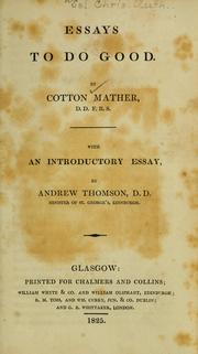 Cover of: Essays to do good | Cotton Mather