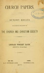 Cover of: Church papers | Leonard Woolsey Bacon