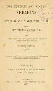 Cover of: One hundred and ninety sermons on the hundred and nineteenth Psalm by Thomas Manton