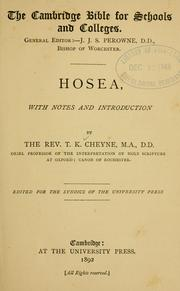 Cover of: Hosea, with notes and introduction