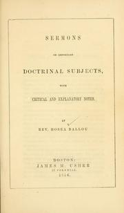 Cover of: Sermons on important doctrinal subjects