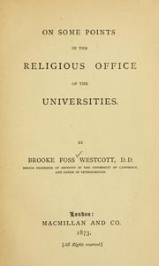 Cover of: On Some Points in the Religious Office of the Universities