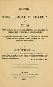 Cover of: Report on theological education in India