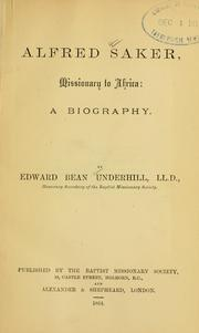 Cover of: Alfred Saker, missionary to Africa by Edward Bean Underhill