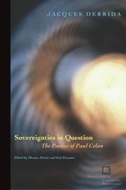 Cover of: Sovereignties in question: the poetics of Paul Celan