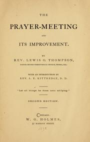 Cover of: The prayer-meeting and its improvement | Lewis O. Thompson